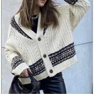 ZARA Oversized Jacquard Wool Cable Knit Cardigan M